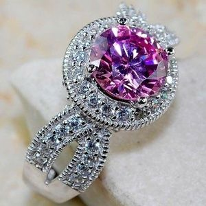 Jewelry - Pink Sapphire Sterling Silver Ring Size 6
